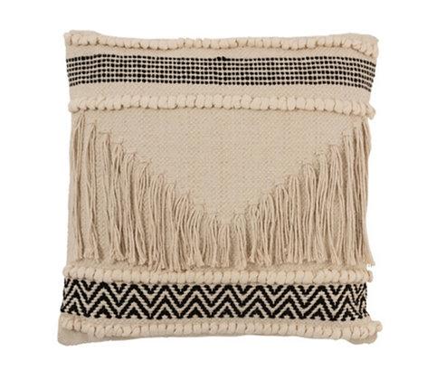 Cushion cotton black /cream with  fringes