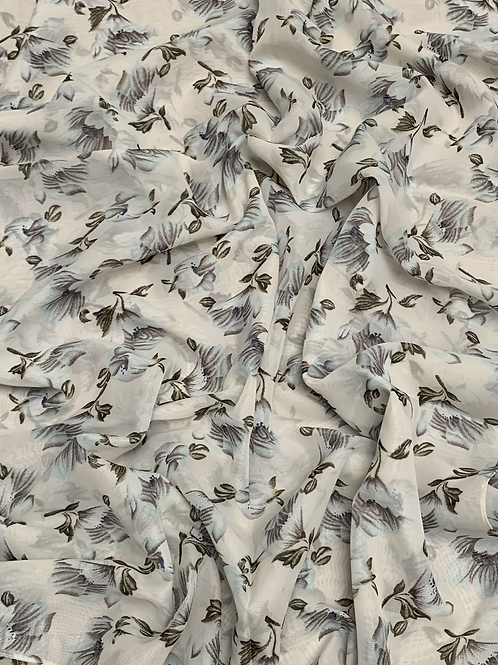 Printed Chiffon-Dusty White