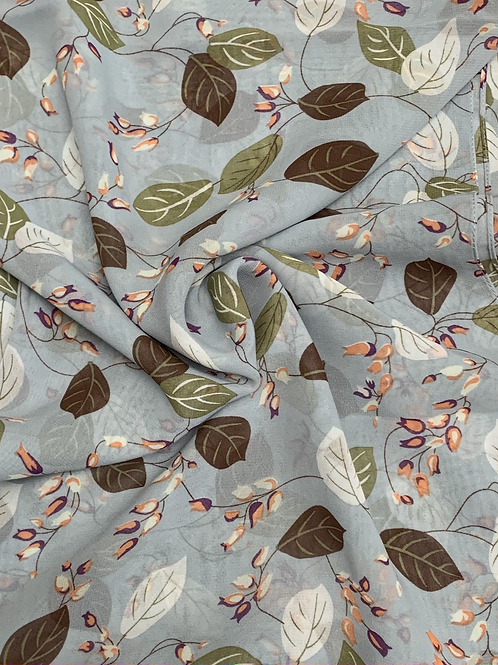 Printed Chiffon-Blue Gray