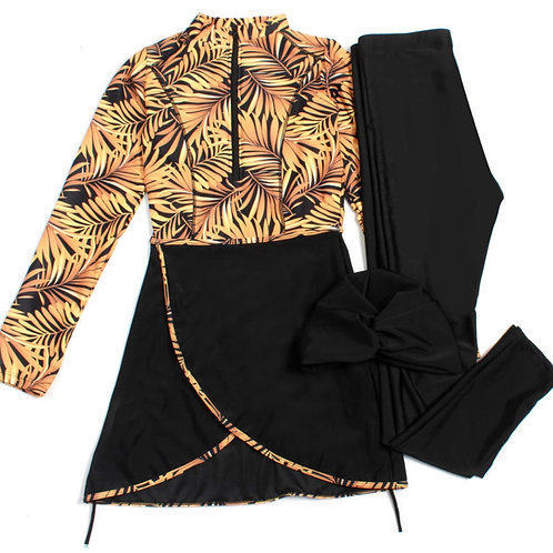 Gold Printed-Modest Swimsuit