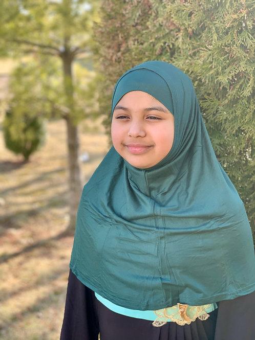 Two Piece Amira Hijab-Emerald Green