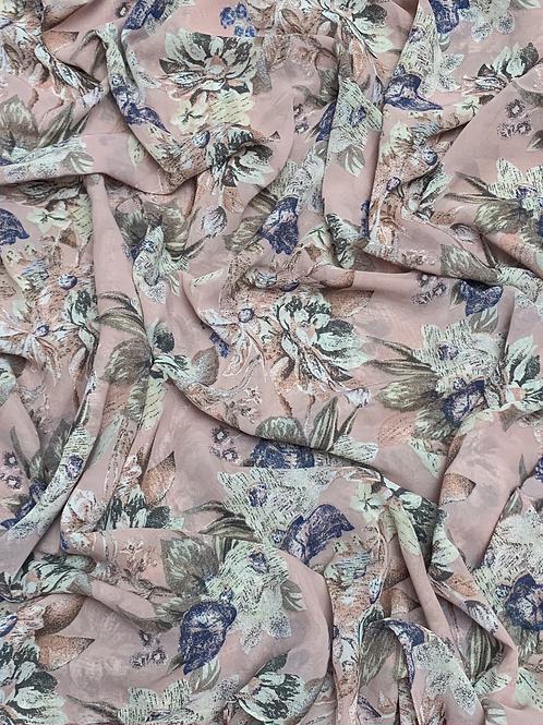 Printed Chiffon-Dusty Pink
