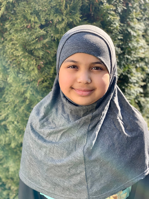 Two Piece Amira Hijab-Dark Heather Gray
