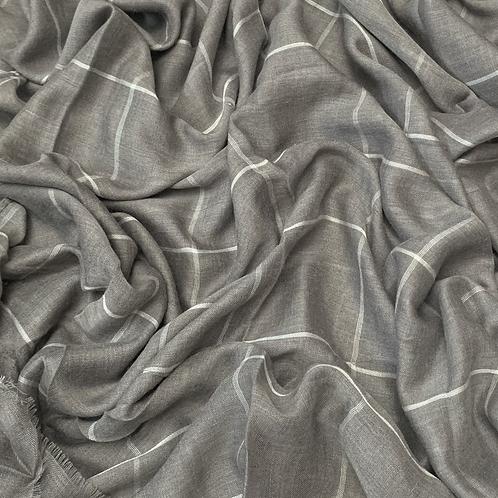 Grid Hijab-Khaki Gray