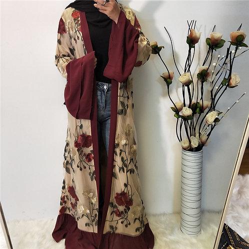 Embroidered Flower Kimono Abaya- Maroon&Gold