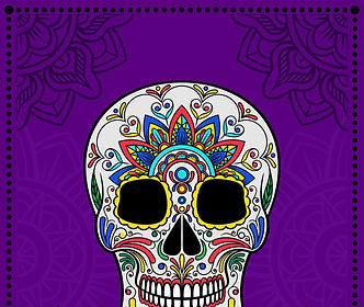 mexican-sugar-skull-with-colorful-floral