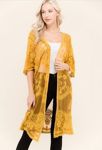 Mustard Lace Kimono