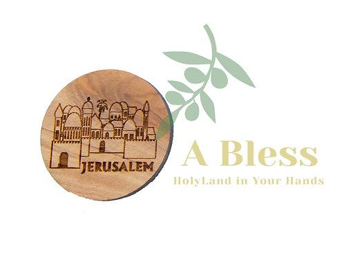 Round Olive wood Jerusalem Magnet