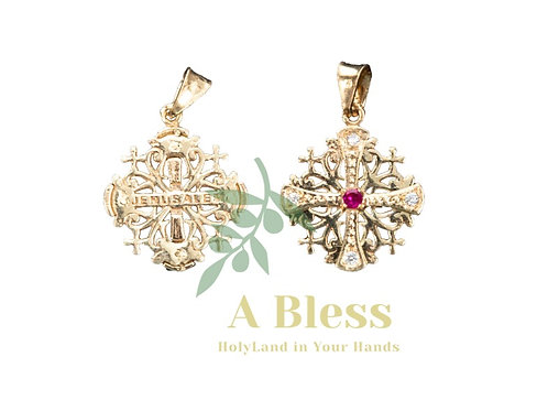 Jerusalem Cross with Ruby Cubic Zirconia