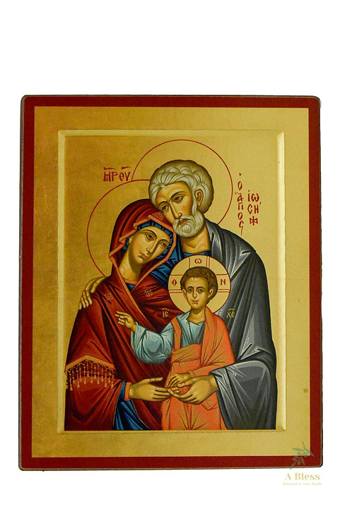 Holy Family Hand Painted Icon on Canvas (L)