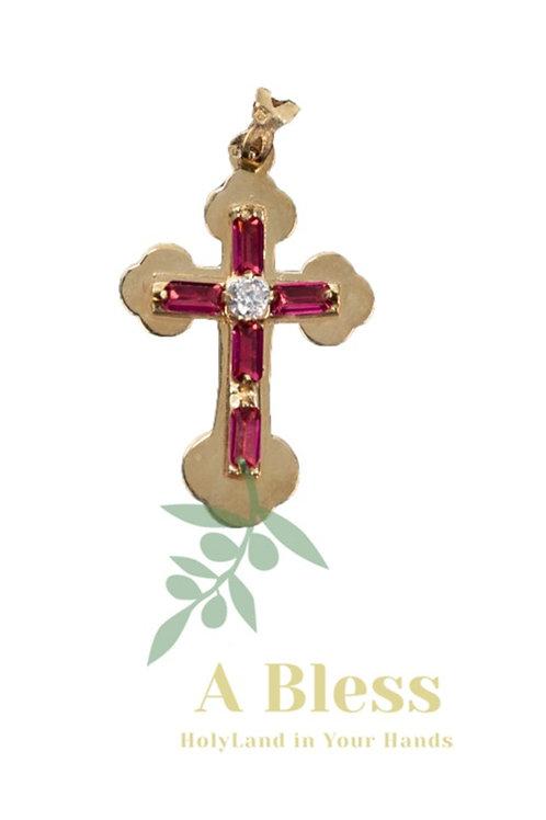 Garnet cubic zirconia Cross Pendant