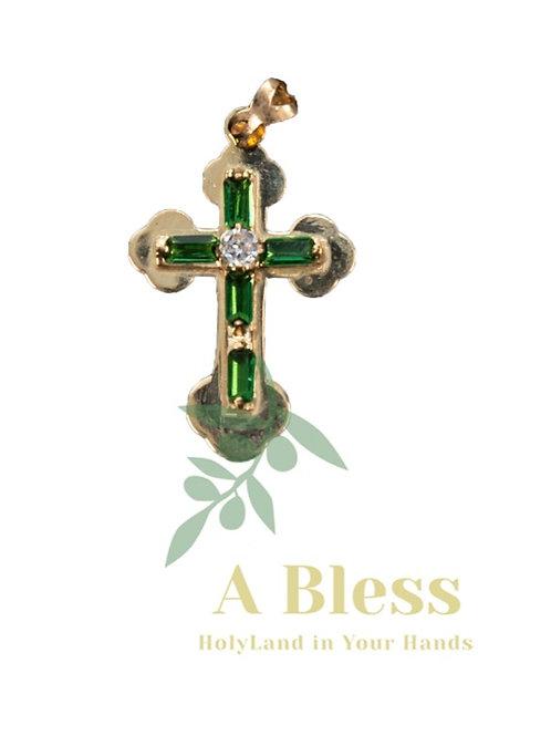 Emerald  cubic zirconia Cross Pendant