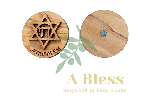 Round Olive Wood Star of David with Chai Magnet