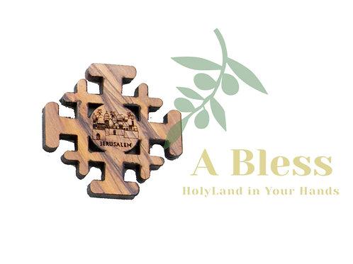 Olive wood Jerusalem  Cross Magnet