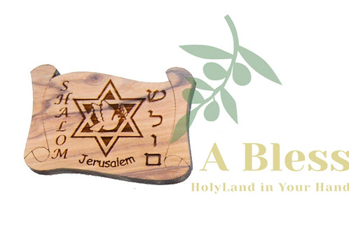 Olive Wood Shalom with Star of David  Magnet