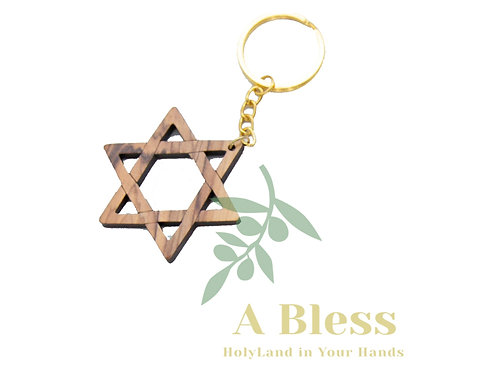 Olive wood Star of David Key Chain