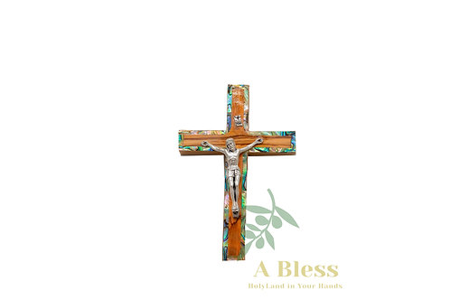 Olive Wood with Mother of Pearl Cross