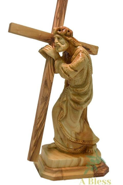 Olive Wood Jesus Holding Cross