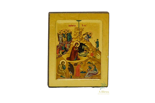 Nativity Hand Painted Icon on Canvas  (S)