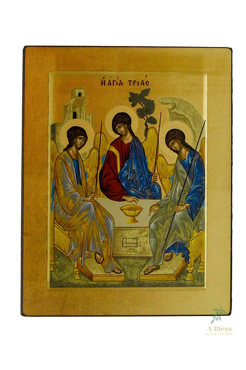 Holy Trinity Hand Painted Icon on Canvas (L)