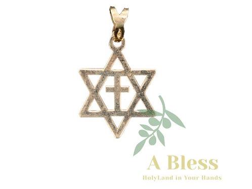 Star of David Cross  Gold Pendant