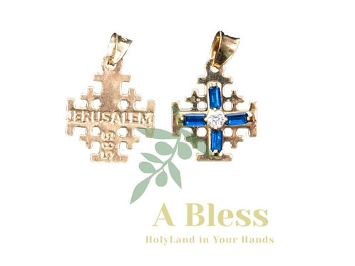 Tanzanite Cubic Zirconia Jerusalem Cross Pendant