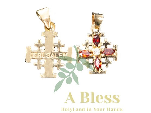 Small Jerusalem Cross with White Cubic Zirconia