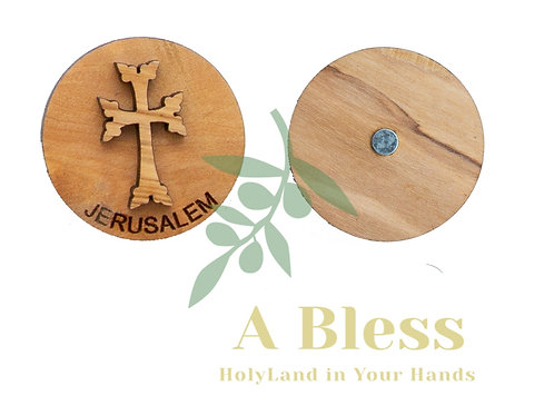 Round Olive Wood Cross Magnet (B)