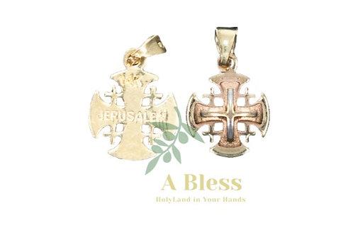 Rounded Jerusalem Cross Gold/ Rose Gold  Pendant