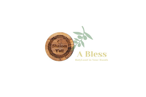 Round Olive wood Shalom Y'all Magnet