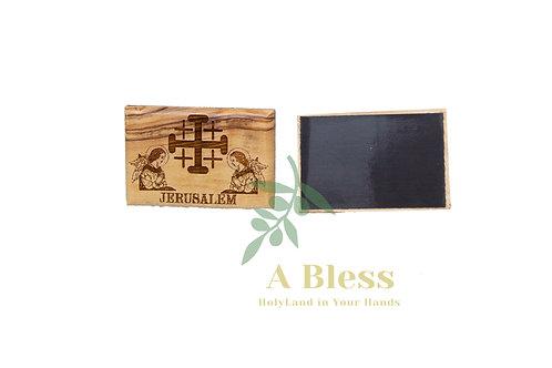 Olive Wood Jerusalem Cross with Angels Magnet