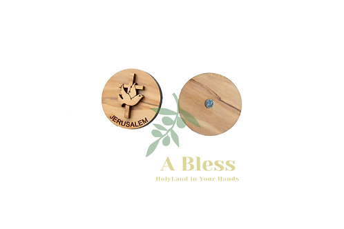 Round Olive Wood Cross & Pigeons Magnet