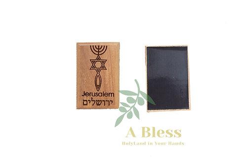 Olive Wood Menorah, Star of David & Fish Magnet