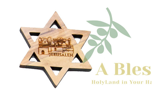 Olive wood Star of David with the City of Jerusalem Magnet