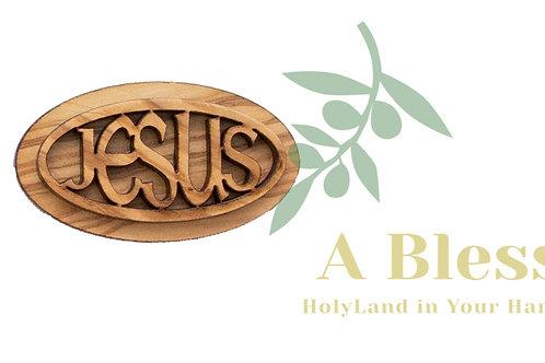 Oval Olive Wood Jesus Magnet