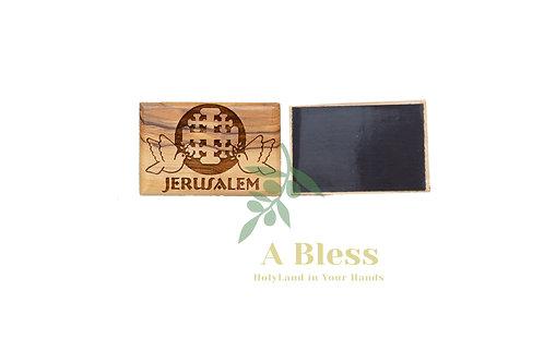 Olive Wood Jerusalem Cross Magnet (A)