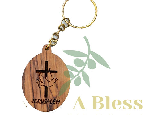Oval olive wood cross with Pigeon Key Chain