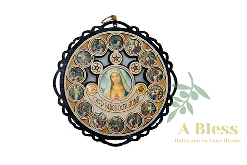 God Bless our Home with Virgin Mary - Wall Hanging