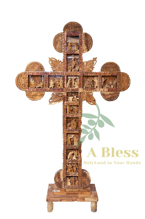 Olive Wood Cross with the 14 Stations