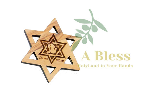 Olive wood Star of David /Shalom  Magnet