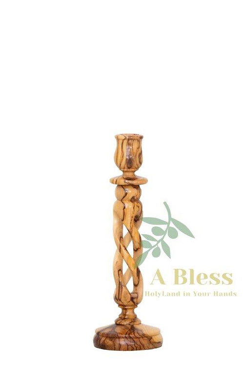 Olive Wood Candle Hollow Twist