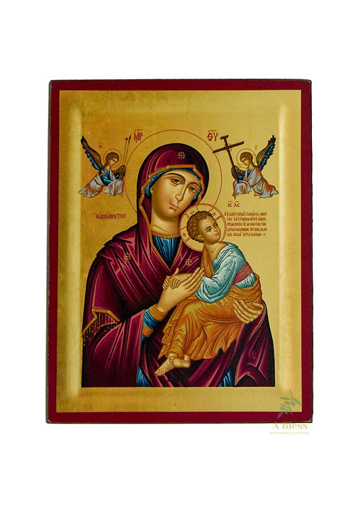 The Virgin & Child with Two Angels Hand Painted Icon on Canvas (L)