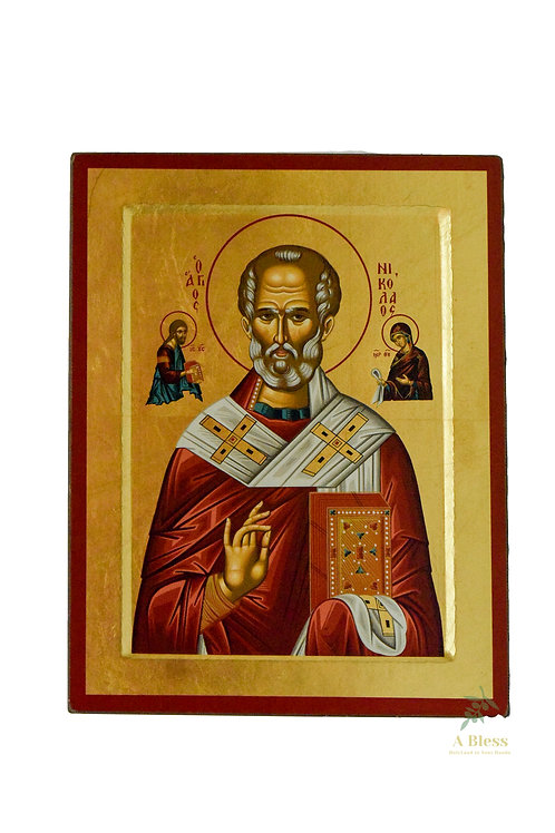 Saint Nicholas Hand Painted Icon on Canvas  (L)