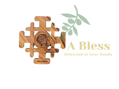 Olive wood Jerusalem Cross Jesus Head Magnet