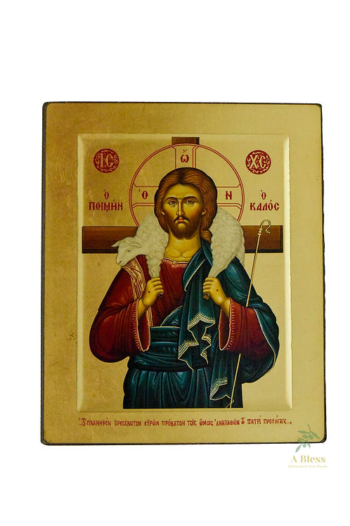 Christ The Good Shepherd Hand Painted Icon on Canvas (L)