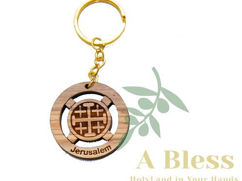 Round olive wood Jerusalem Cross key Chain