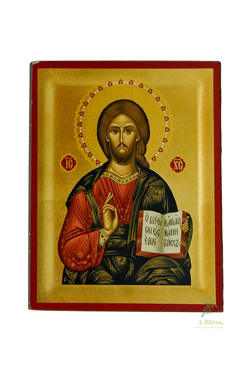 Christ Pantocrator Hand Painted Icon on Canvas (L)