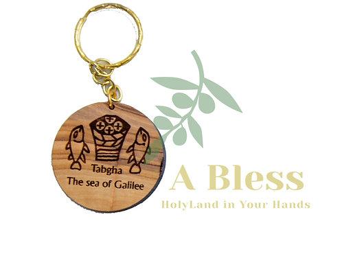 Round Sea of Galilee/Tabgha Key Chain
