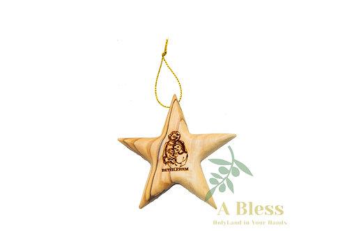 Olive Wood Star Ornament