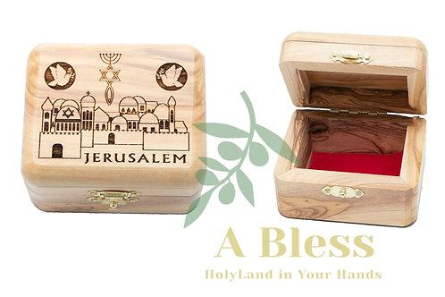 Wooden Jewelry Box engraved on Jerusalem